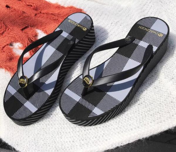 Summer fashion new slope with thick bottom flip-flops female summer wear non-slip fashion pinch beach waterproof tow
