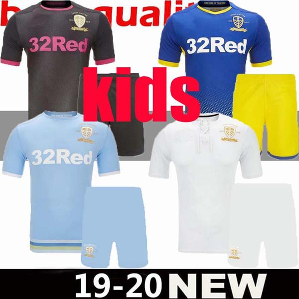 19 20 leed united 100th kid child occer jer ey 2019 2020 harri on home away third co ta man kid blue kit football hirt uniform