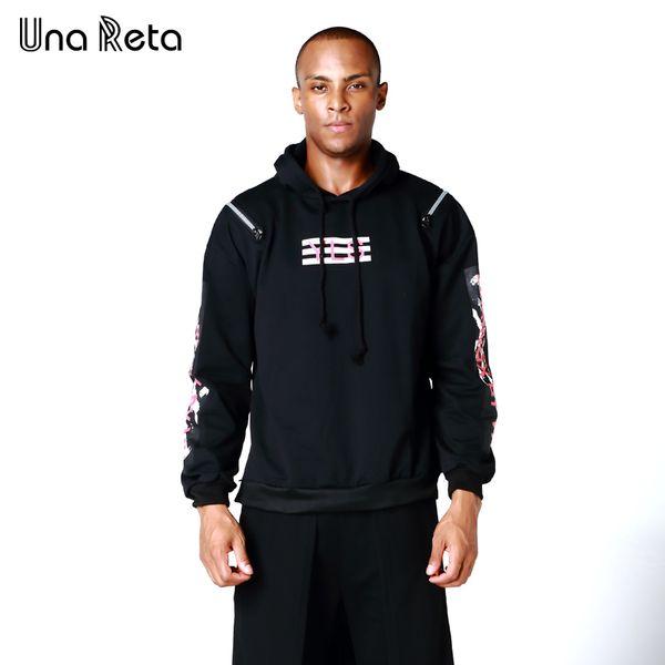 Una Reta Hip hop Men's hoodies 2017New Autumn Fashion Hoodies Men Double Zipper decoration Sweatshirts Male Casual Hooded Jacket