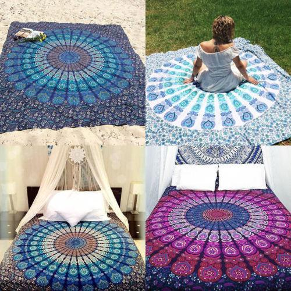 best selling Summer Holiday Picnic Boho Flower Print Round Folding Wall Hanging Beach Sheet Throws Mandala Mat Towel Camping Carpet Home Sheets