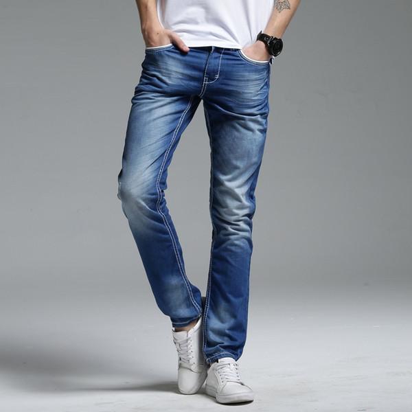 Moda azul delgado Jeans rectos hombres puro algodón vaqueros tamaño 29-34