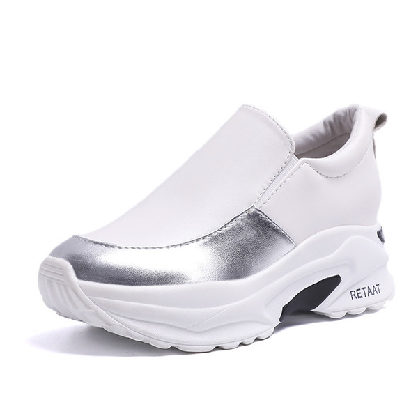 minorista online 6d15e d4b0d Compre Zapatillas De Deporte De Mujer Zapatos Blancos 2019 PU Zapatillas De  Deporte Ocasionales Impermeables De La PU Zapatillas De Deporte De Mujer ...