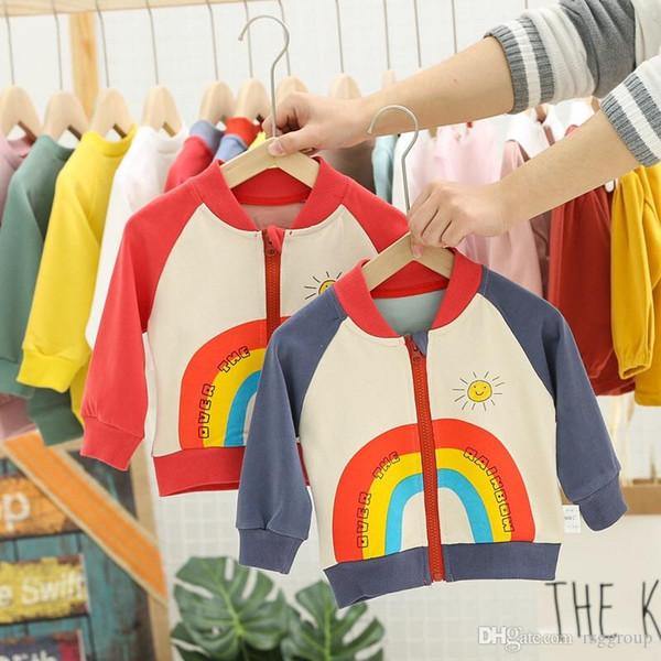 New Arrivals INS Kids Boys Girls Baseball Sweatshirts Zippy Sun Rainbow Letters Printing Autumn Cotton Children Outwear Sports Hooded Jacket
