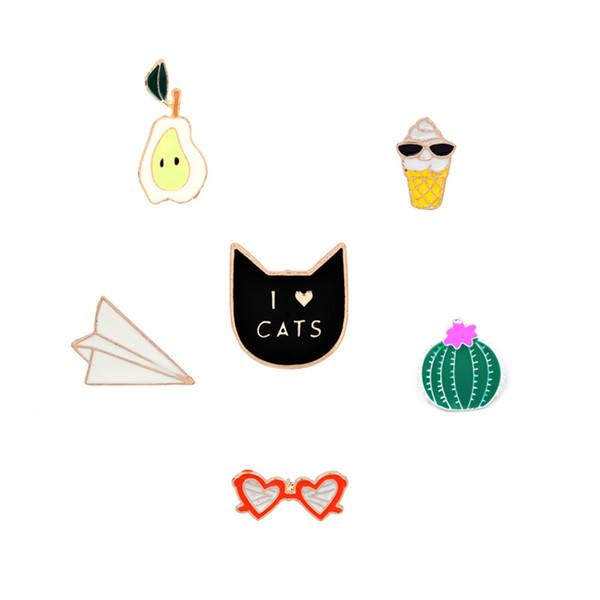 """I LOVE CATS"" Cat Pear Orange Orange Heart Sunglasses Prickly Pear Ice Cream Paper airplane personality brooch special creative combinatio"