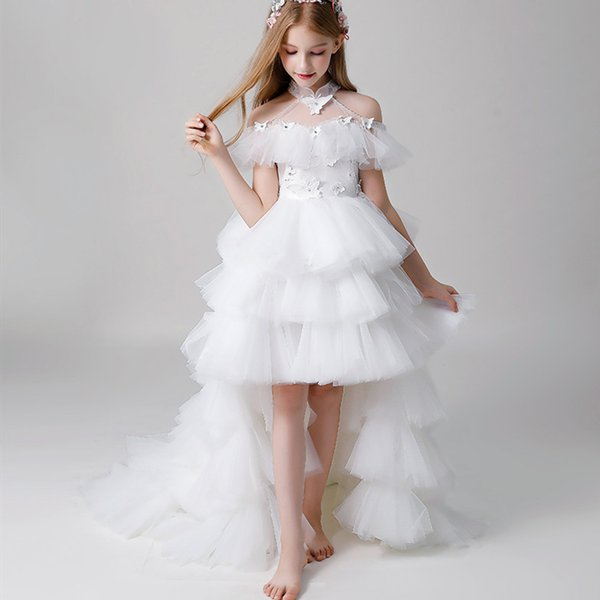 White Tulle Skirt Flower Girl Dresses High Neck Hi-Lo Pageant Gowns For Weddings Sweep Train Off Shoulder First Communion Dresses For Girls