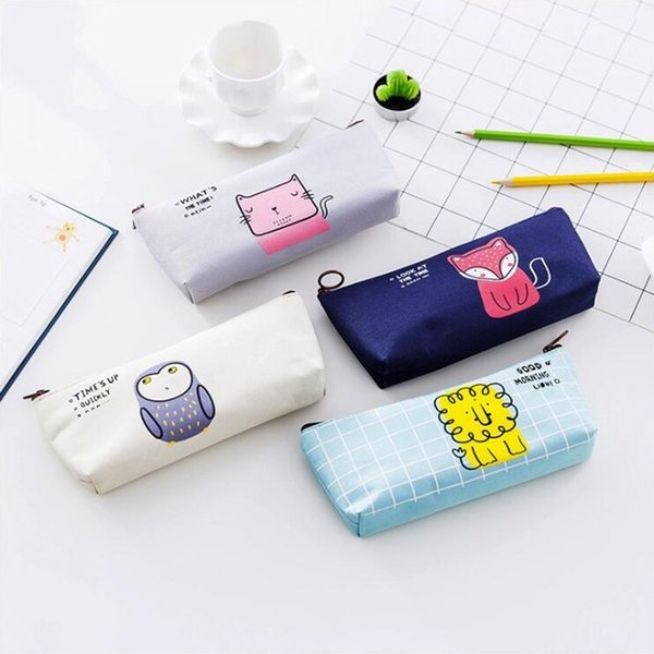 Animal Pencil Case Inverted Trapezoid Office Stationery and School Supplies High Capacity Oxford Cloth Material Pencil Bag 1PCS