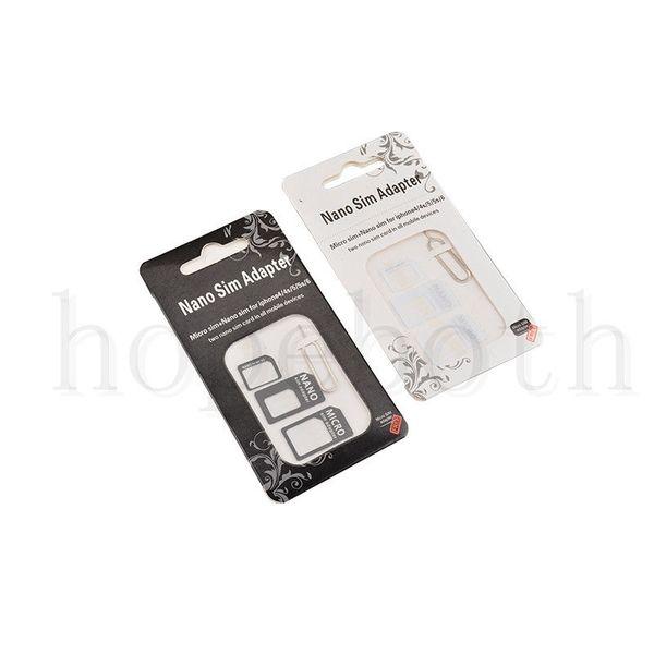 Nano Tarjeta SIM a Tarjeta Micro SIM Adaptador estándar Convertidor de expulsión Juego de patillas 4 en 1 Para iPhone 8 xr xs Máx.