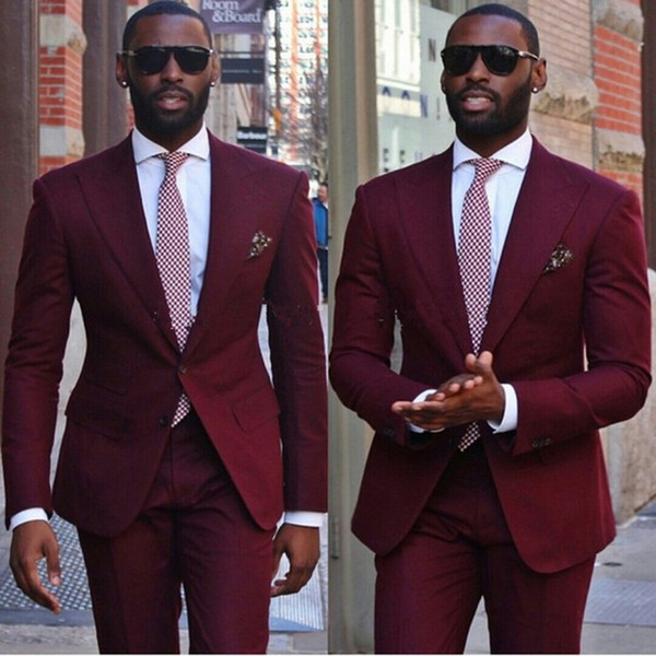 Causal Style Burgundy Wedding Tuxedos Dresses For Men Groom Costume Homme Business Two Piece Suits Pants blazers for Garden wedding party