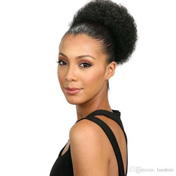 Synthetic kinky curly drawstring ponytail extensions afro puff chignon pony tail hair pieces with clips on Ponytal