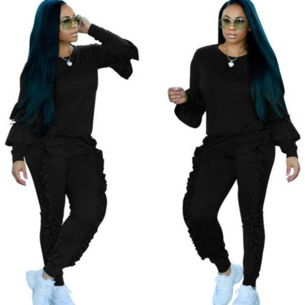 Femmes Set 2018 Nouvelle Marque Femmes Automne manches longues Casual Crop solide Hauts Pantalons 2pcs Survêtement