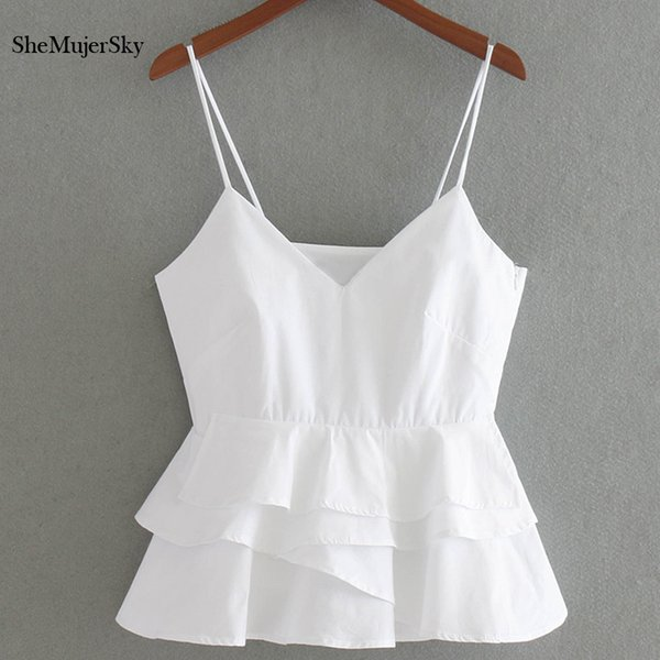 Shemujersky White Crop Top Women Summer Sleeveless Halter Tops Femme Sexy Cropped