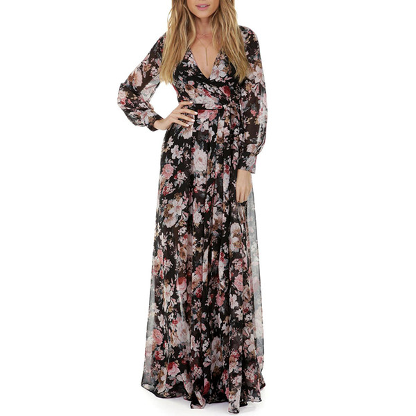 Women's Printing Dress Elegant V-Neck Floral Maxi Long Dress Party Dress for Female Hot Sale Women Fashion Long Sleeves T200106