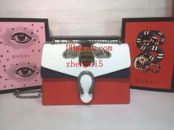 2019 marke handtasche hochwertige mode umhängetasche rote, weiße und blaue nähte silberkette paillettenstickerei damenmode tasche