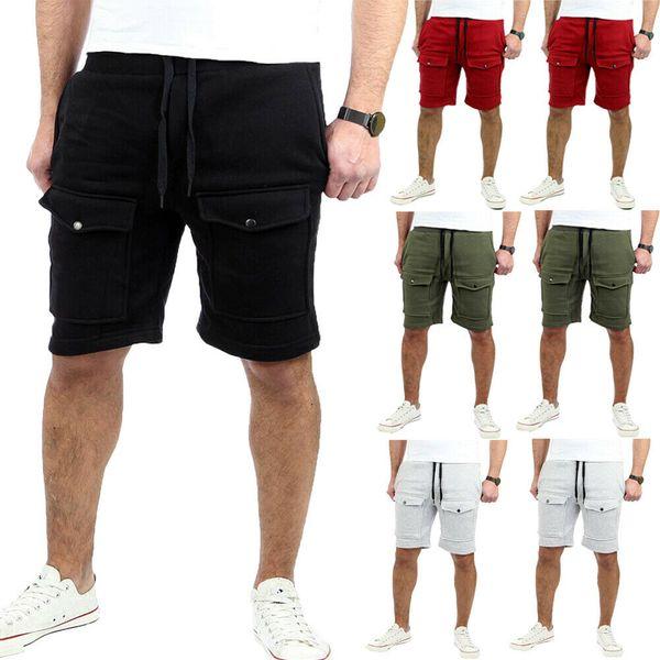 2019 Yeni Stil Moda Sıcak Yaz Erkekler Rahat Şort Koşu Düz Pantolon Rahat Yarım Uzunluk Ile Cep Egzersiz