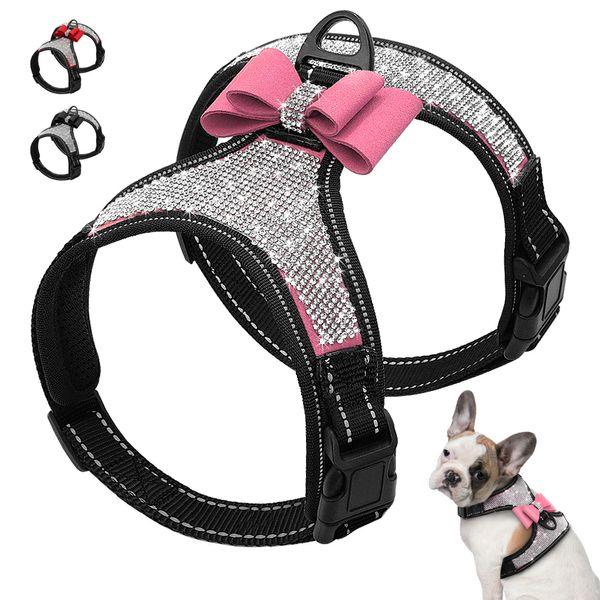 Reflektierende Hundegeschirr Nylon Pitbull Mops Kleine mittelgroße Hunde Geschirr Weste Bling Strass Bowknot Hundezubehör Heimtierbedarf