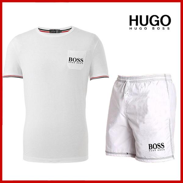 2019 Nouveautés T-shirt et short de survêtement homme d'été à manches courtes T-shirt à capuche décontracté Combinaison de sport Décontracté Set de sport col rond Homme