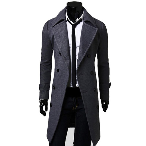 2019 Mann-Winter-Warm Trench Wollmantel Slim Fit beiläufige Reefer Jacken Solidee Stehkragen Zweireiher Peacoat Parka