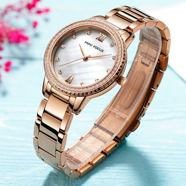 MINI FOCUS Top Brand Luxury Fashion Casual Quartz Women Watches Rose Diamond Golden Stainless Steel Strap Ladies Wristwatches
