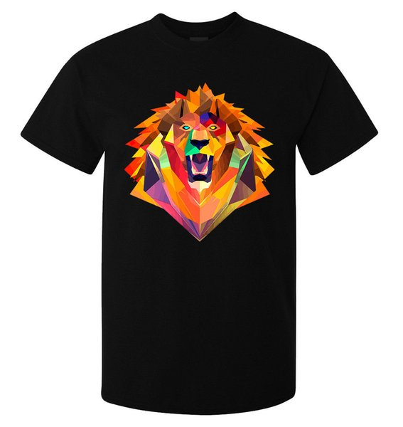 Abstract Tribal Roaring Lion Head Art men's (woman's available) t shirt black funny 100% Cotton t shirt Style Round Style tshirt