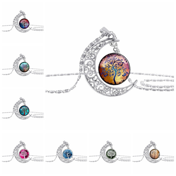 10PC/lot New Fashion Vintage Tree of Life Necklaces Moon Gemstone Women Pendant Necklaces Hollow Carved 8 Mix Jewelry Styles
