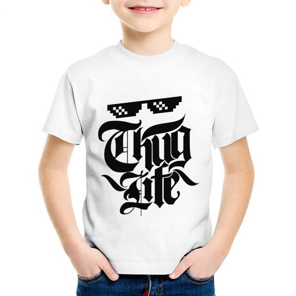 Hip Hop Rap Thug Life Printed Children Fashion T-shirts Kids Summer Short Sleeve O-Neck Tees Boys/Girls Tops Baby Clothes,HKP556