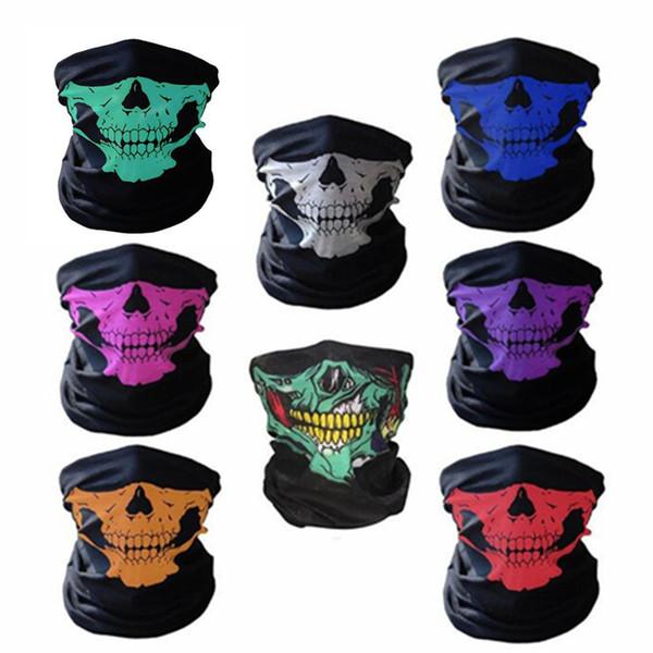 10pcs / Lot New Chegou Máscara Esporte Headband bicicleta HalloweenSkull Bandana Paintball Esqui Capacete Neck Protector da cara do crânio