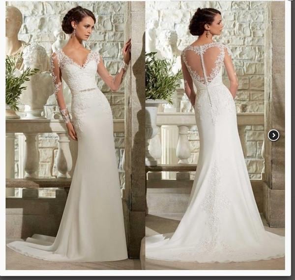 fast shipping in stock handmade beading belt bridal gown ivory lace chiffon mermaid V neck long sleeves bridesmaid wedding dresses