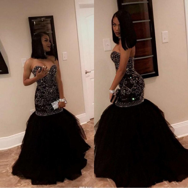 2019 New Sparkly Crystal Beading Mermaid Prom Dresses Sweetheart Tulle Black Gold Appliques Evening Party Gowns African Black Girl Dress