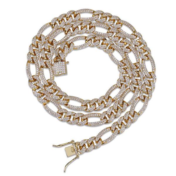2019 New Hip Hop Diamond Necklace Micro Cubic Zirconia Copper Pendant Necklace Set With Diamonds 18k Gold Plating Cuba ChainTwist Chain