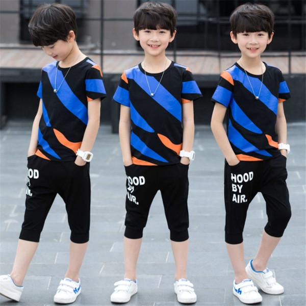 Ragazzi vestiti imposta estate bambini casual t-shirt in cotone + pantaloncini 2 pezzi abbigliamento sportivo adolescente ragazzi tute set abiti 4-12T