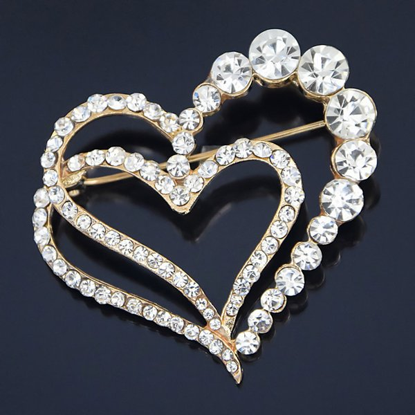 New Fashion High Quality Diamond Brooch Gold-plated Brick Love Christmas Wreath Crystal Rhinestone Jewellery Fashion Costume Pin 24PCS