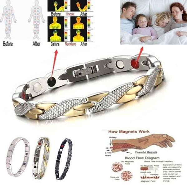 Vente chaude en acier inoxydable Tourmaline Bracelets magnétiques pour les femmes des hommes de haute qualité Energy Balance Bracelet Bijoux de soins de santé