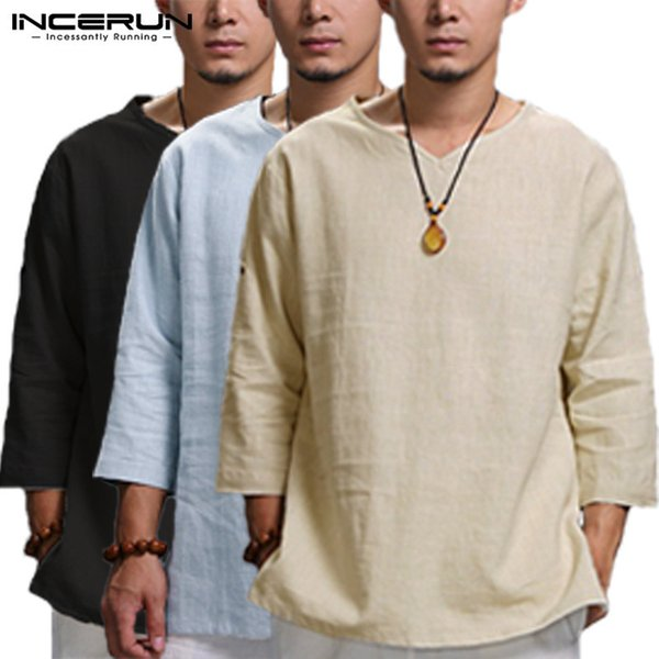 Incerun Chinese Style Men's Shirts Longarm Lace V Neck Plain T Shirt Lose Fit Cotton Tops Man Camisas Masculina Clothes Y19071301