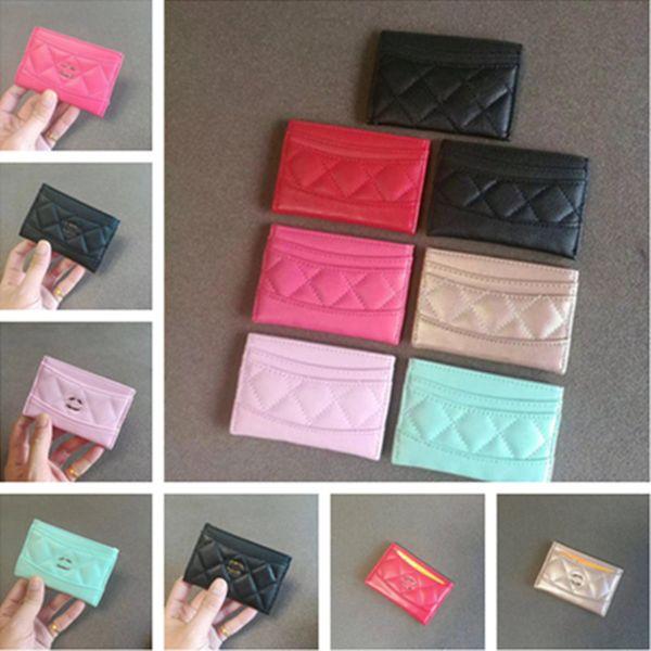 Women Men Card Holder Wallets C Letter PU Leather Coin Purse Pocket Unisex Credit Card Bag Pouches Mini Rhomboids Handbag Cosplay Bag C62501