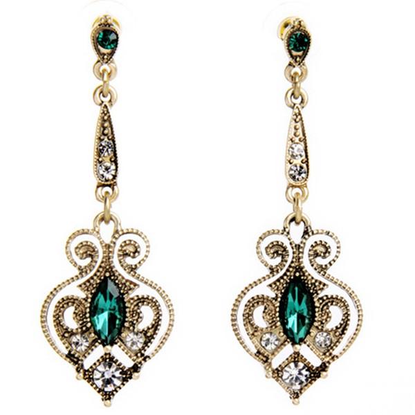 Retro Alloy Heart Drop Earrings for Women Bijoux Summer Trendy Gold Color Earrings Birthday Gift
