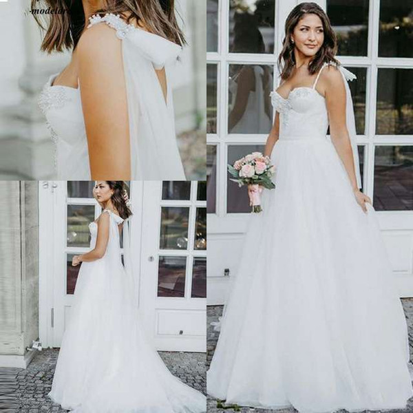 2019 Charming Spaghetti Straps A-Line Bohemian Wedding Dresses Pearls Beading Western Country Bridal Gowns Robe De Mariee