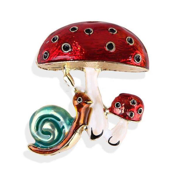 Lovely Cartoon Crystal Snail Mushroom Pattern Enamel Brooch Pins Scarf Clothes Badge Jewelry Xmas Gift