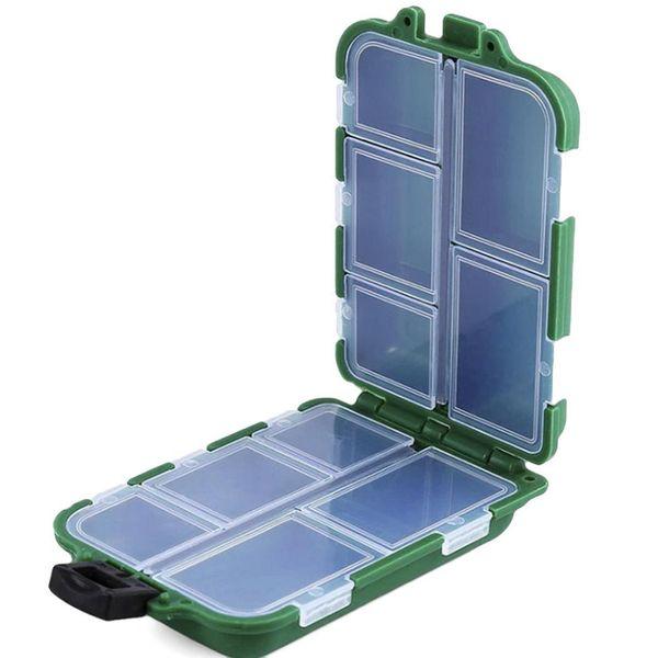 Mini 10 Compartments Potable Plastic Protable Fishing Box Gear Tackle Lures Hooks Baits Storage Case Pesca Anzol Box Fishing