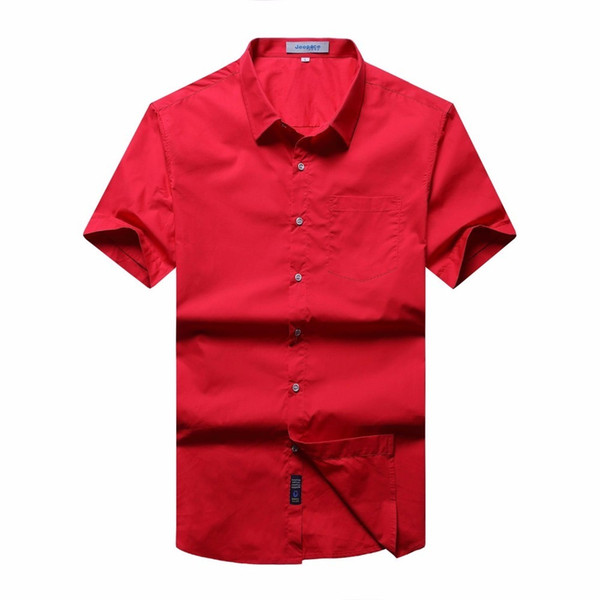 Plus Size 10XL 9X 8XL 7XL 6XL 5XL 4XL New Summer 2018 Short Sleeve Twill Pure Color Business Dress Shirts Formal Work Shirts Men