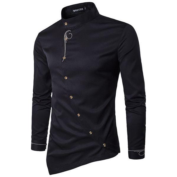 Горячая 2019 весна осень Повседневная мужская вышивка личность диагональная кнопка нерегулярные многоцветные высокого класса отель рубашка
