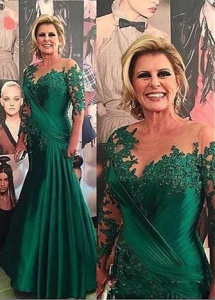 2019 Dark Green Sheer Jewel Neck Mother Dresses Long Sleeve Lace Appliques Mermaid Mother Of Bride Dresses Formal Evening Occasion Dresses