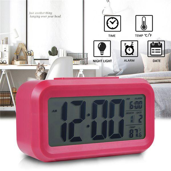 Smart Sensor Nightlight Digital Alarm Clock with Temperature Thermometer Calendar Silent Desk Table Clock Bedside Wake Up Snooze