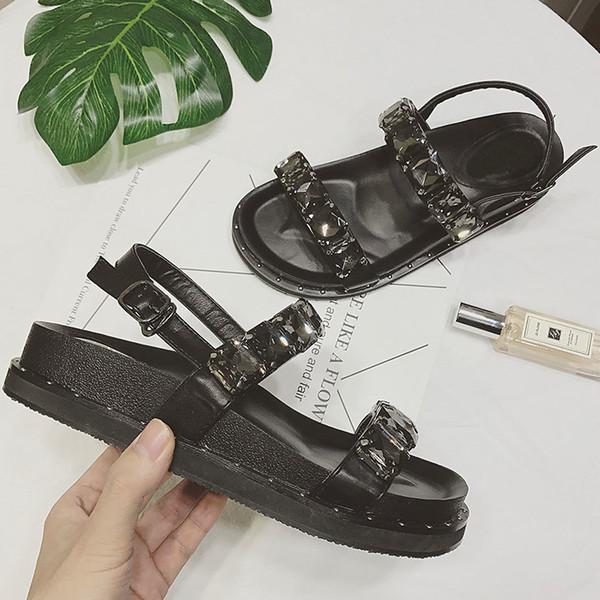 2018 neue Ankunft Rom Stil Mode Marke Mädchen Sommer Nieten Plateauschuhe Frau Strass Sandalen Schwarz Gute Qualität