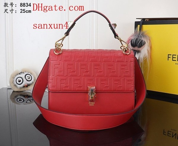 One Shoulder Solid color bag Widened adjustable strap Full F letter with square button on Cube off-w1997