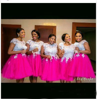 Nigerian White And Fushia Lace Applique Bridesmaid Dresses Cap Sleeve Knee Length Puffy Maid Of Honor Gowns Plus Size Wedding Guest Dresses