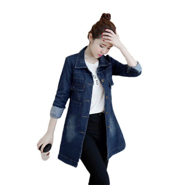 Women Denim Outerwear 2019 Spring Autumn New Denim Trench Coat Female Medium Long Slim Single-Breasted Windbreaker Coats JIA81