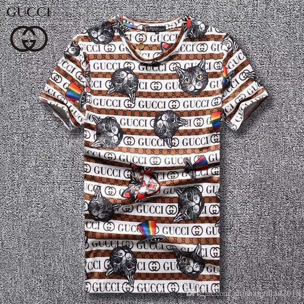 T-shirt a maniche corte marca moda uomo nuovo caldo Italia cappello arcobaleno e stampa animalier stampa tricolore di alta qualità casual T-