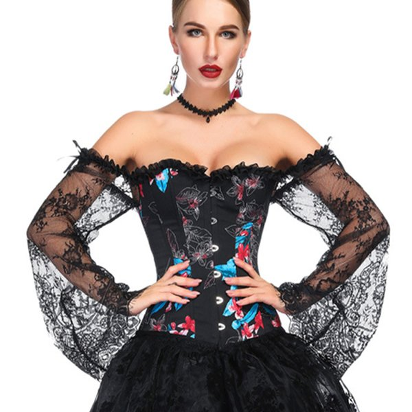 Flare Sleeve With Ribbon Off Shoulder Dance Overbust Lace Women Corset Button Boned Sexy Shapewear Slim Fit Floral Perspective