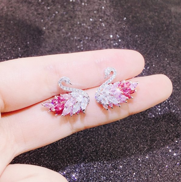 2019 new style high quality luxury jewelry color gradient swan fashion Japanese and Korean new earrings girls earrings 925 silver needles fr