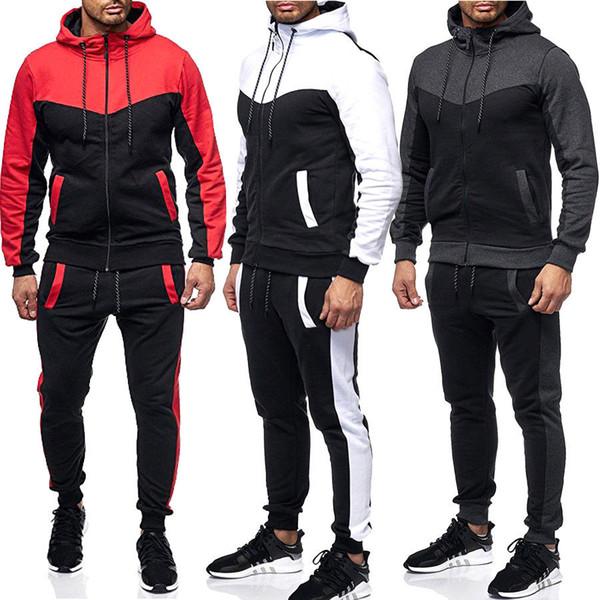 Hot New Fashion Uomo Tuta Set Felpa con cappuccio Felpa Slim Fit Pantaloni Jogger Tuta sportiva